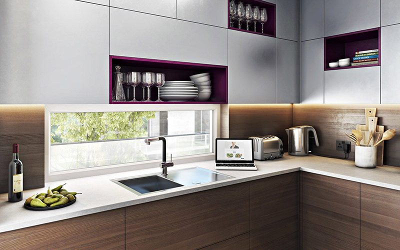 Awesome Kitchen Design 3D Rendering Showing The Working Surface By The Window
