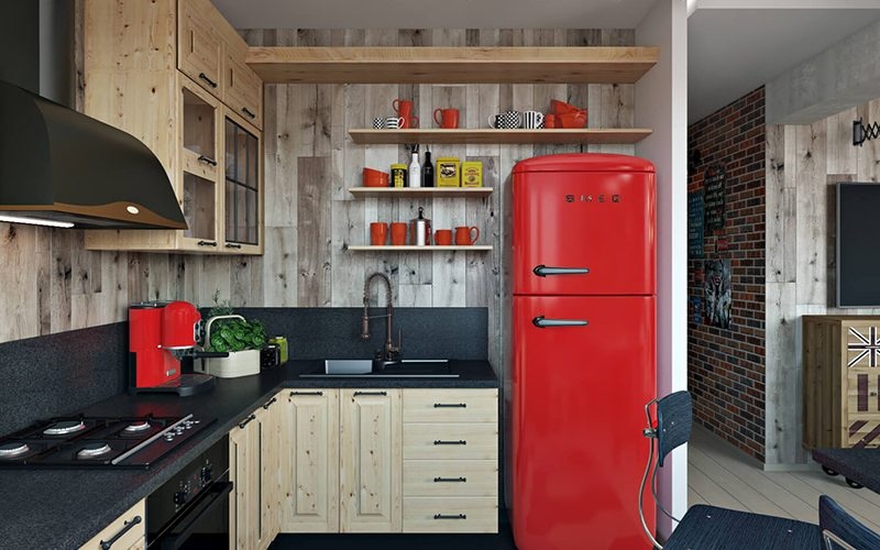 Professional Design Architectural Rendering For A Kitchen Interior In Wood With Black And Red Accents