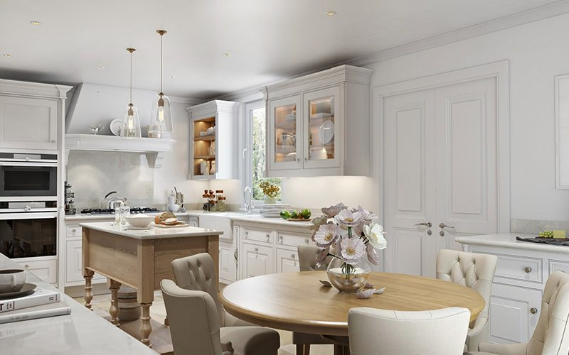 Professional Design 3D Rendering For A Kitchen In White With Fair Wood Tables