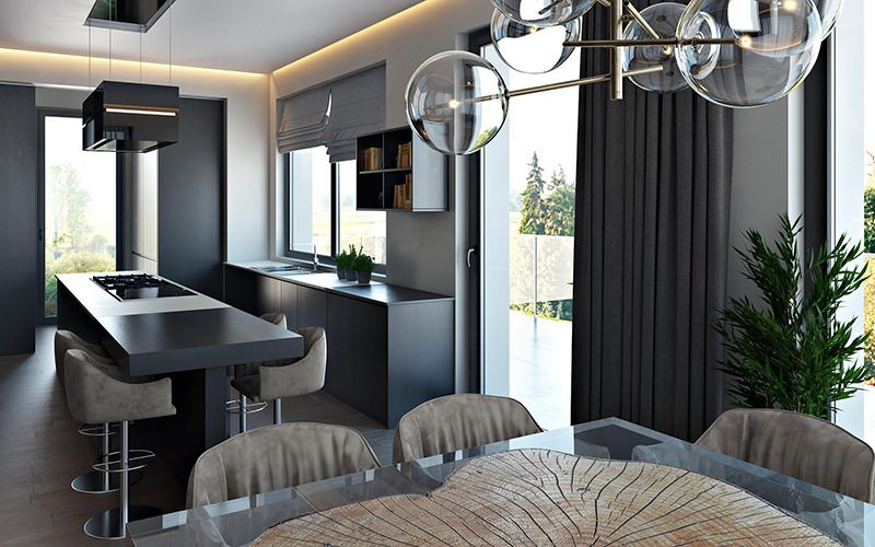 High-Quality Kitchen Design 3D Rendering: Impactful Black Island