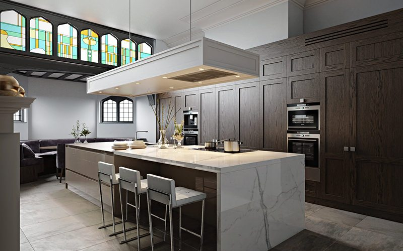Quality 3D Design Rendering For A Kitchen Interior With Wooden Built-In Storage