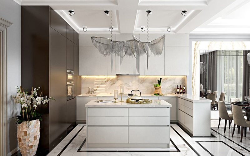 Photorealistic 3D Rendering For A Kitchen Design With A Stunning Chandelier