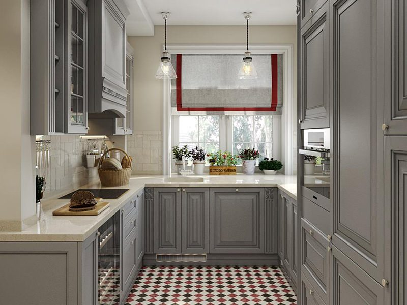 Beautiful Design Architectural 3D Rendering For A Kitchen In Gray