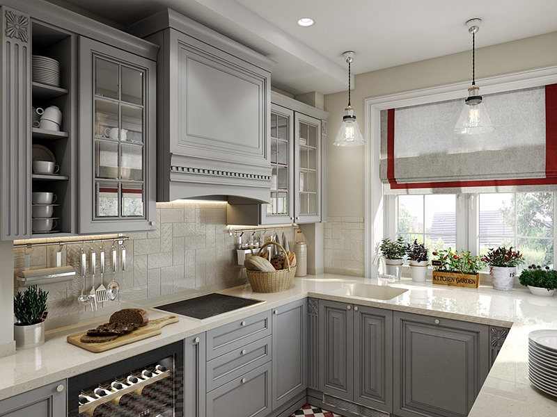 Gorgeous Design 3D Rendering For A Kitchen With Red Accents