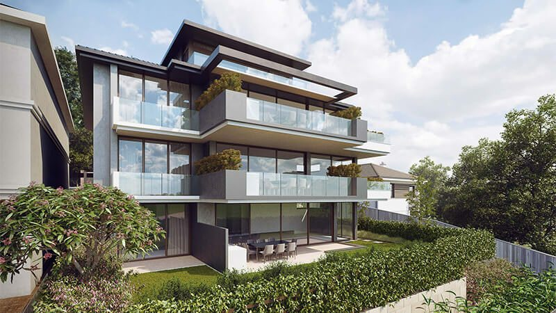 Stylish Digital Rendering For A House In Greenery With Glass Balustrades