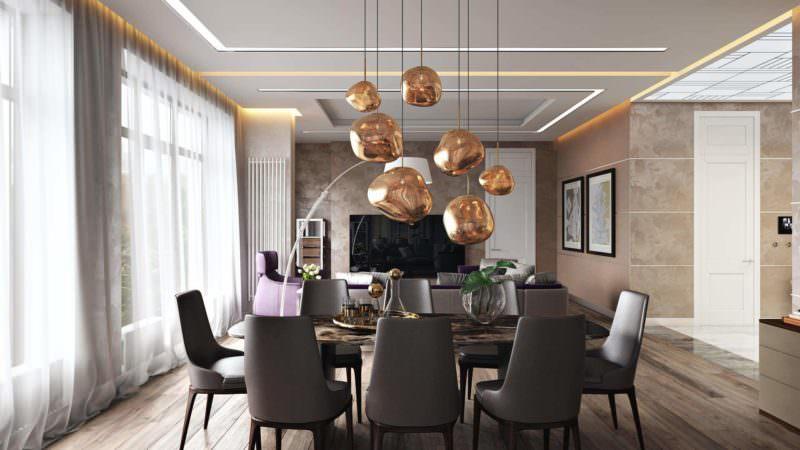 Atmospheric Digital Rendering For An Elegant Living Room Studio: The Dining Area