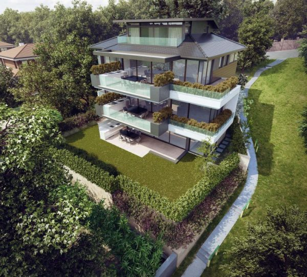 An aerial perspective of an exterior rendered in 3D View04