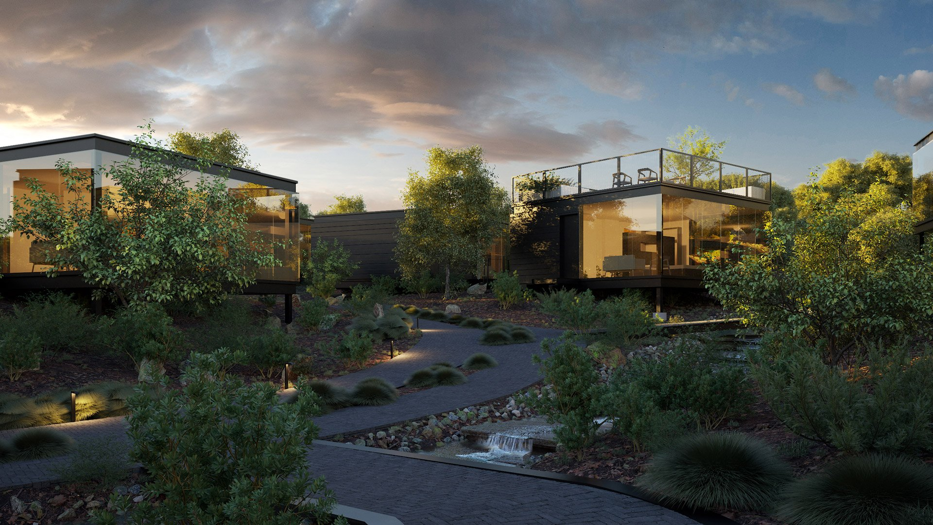 CG Visualization for a Cottage Complex Exterior