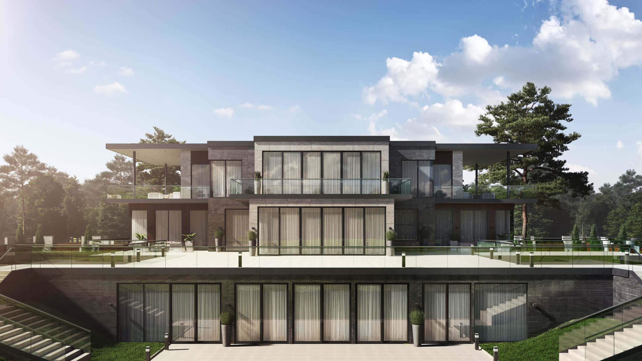 Stunning Exterior Rendering For A House Design Project: Main Entrance