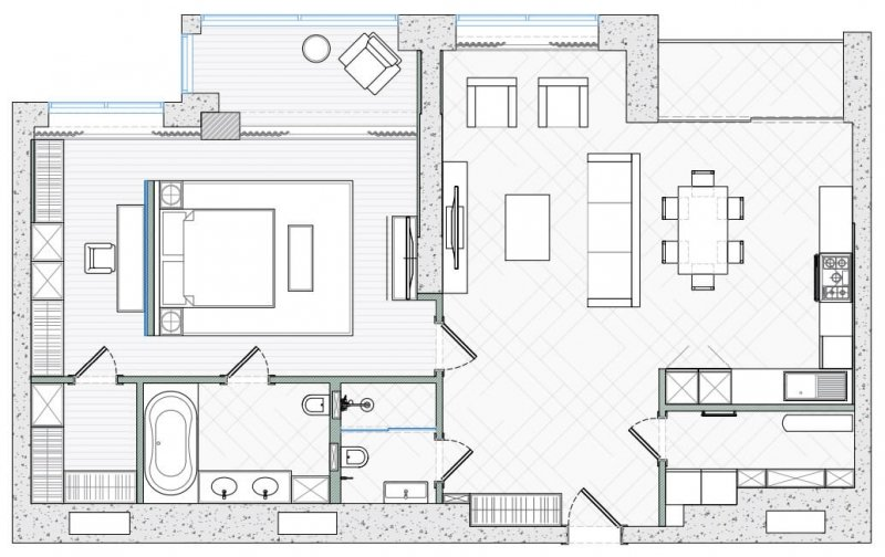 2D Plan of a Small Apartment
