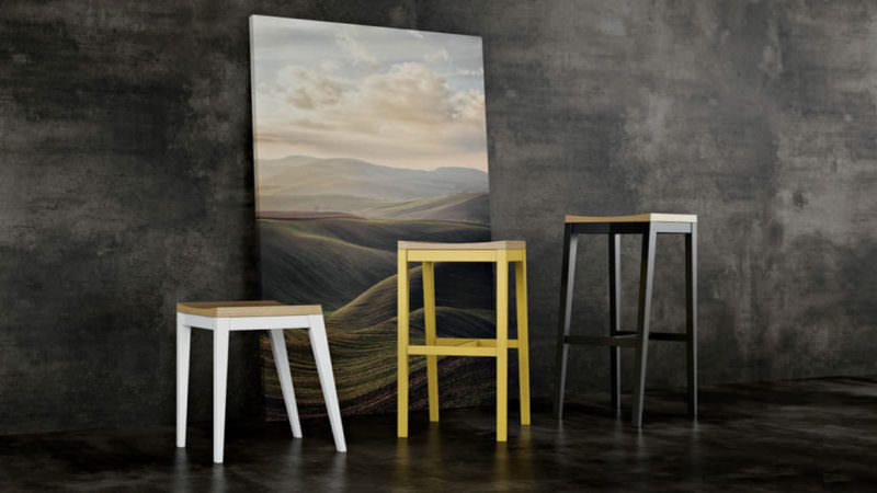 Asymmetrical Chairs In White, Yellow And Black. Furniture Photography VS Photoreal Rendering