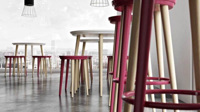 Bright Pink Stools On Gray Floor. Visualization With Impact Of Furniture Photography