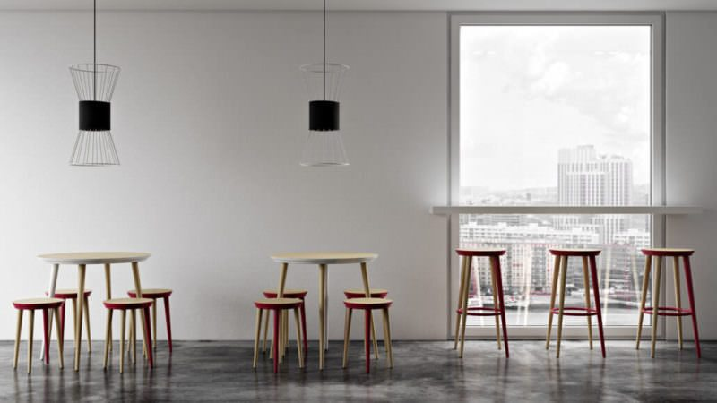Stools And Tables In A Custom-Made Scene. Advantages Of 3D Visualization Over Furniture Photography