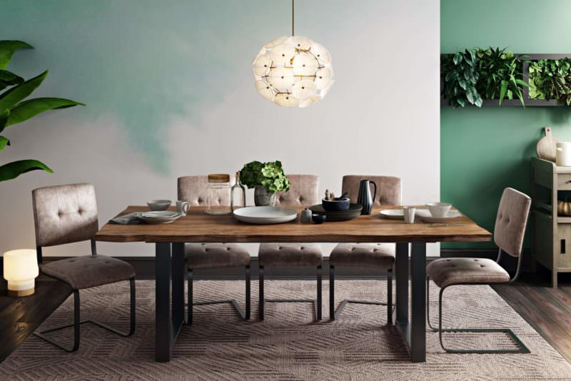 Cozy Scene With Pale Green For Comfy Brown Table And Chairs