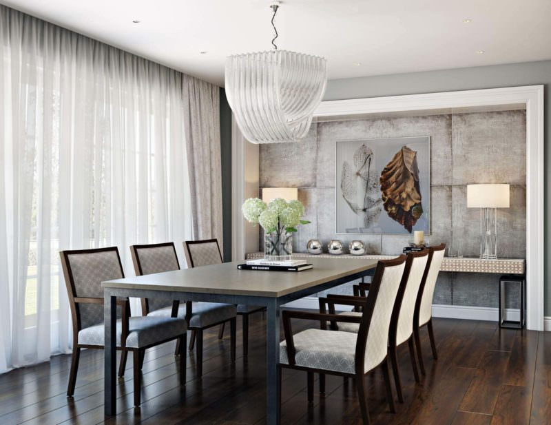 White Dining Table And Chairs In An Elegant Scene. Benefits Of 3D Visualization And Furniture Photography