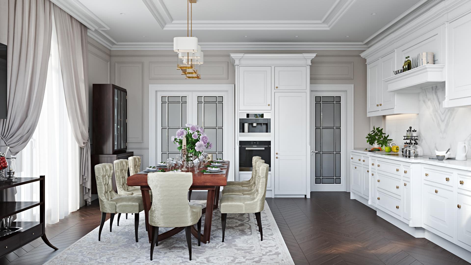 3D Design Rendering Showcasing Kitchen Interior In Pure White