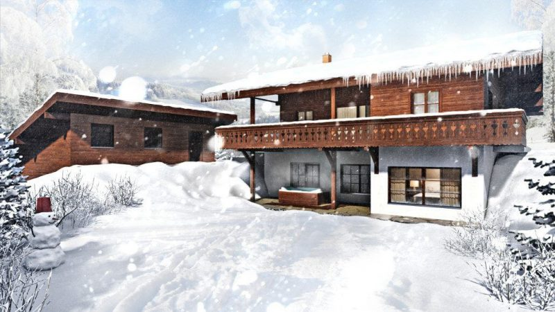 Snow-Clad House 3D Visualization