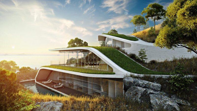Green Resort Hotel 3D Render for Print Marketing