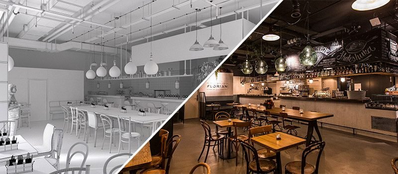 Restaurant Interior 3D Rendering