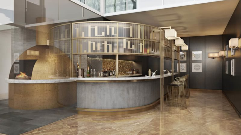 A Beautiful Gray And Golden Bar In Commercial Interior Design Renderings