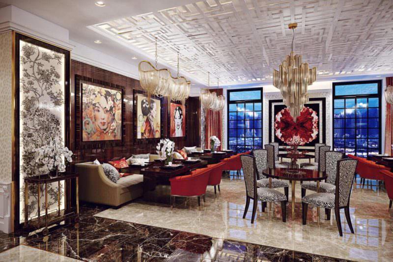 Impactful Interior Design Renderings For A Restaurant With Splendid Chandeliers
