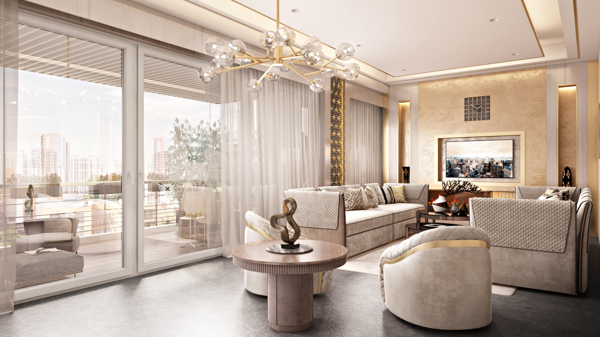 3D Visualization of a Fancy Interior in a Spacious Flat with a Balcony