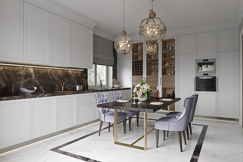 3D Visualization of an Elegant Kitchen Design