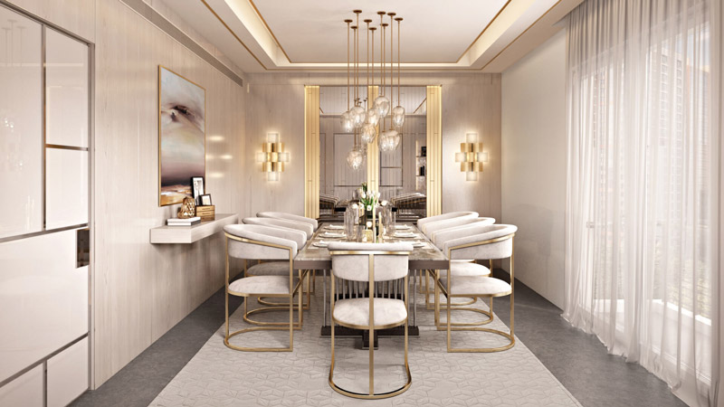 3D Rendering of an Interior Design in Light Colors
