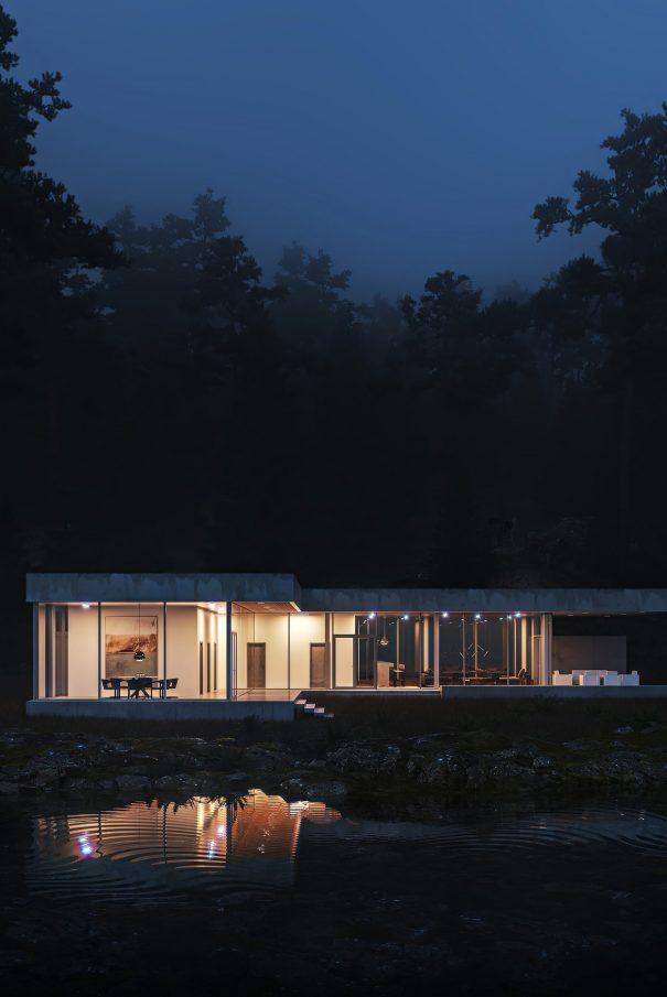 Glass and Concrete Villa Exterior 3D Visualization