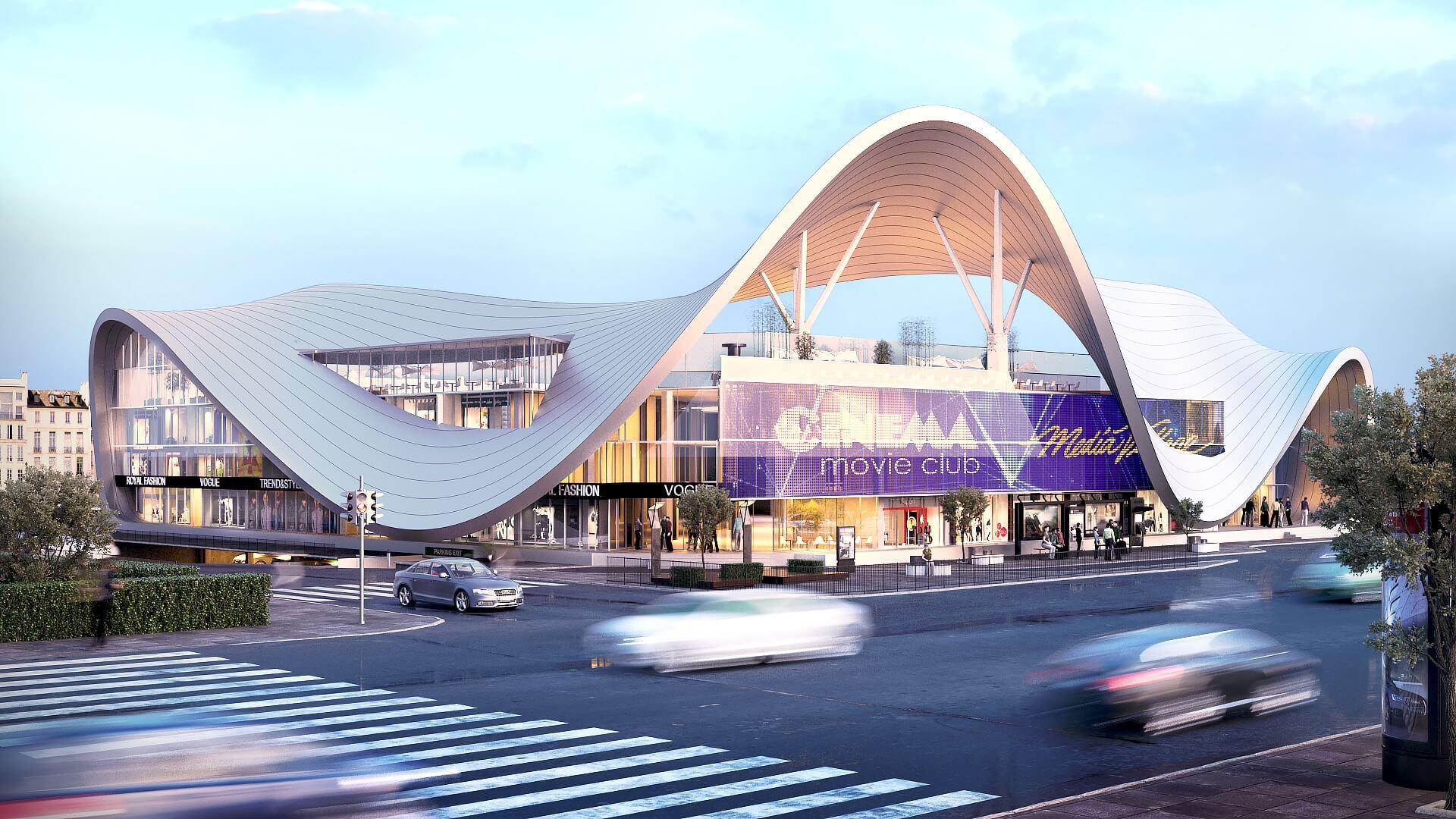 3D Rendering of a Modern Shopping Center