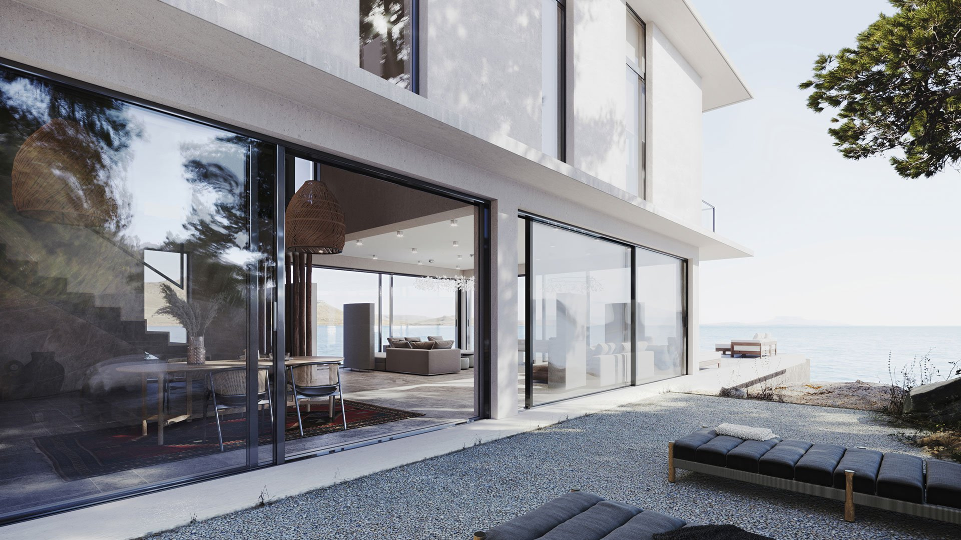 3D Exterior Rendering of a Luxury Property by the Lake