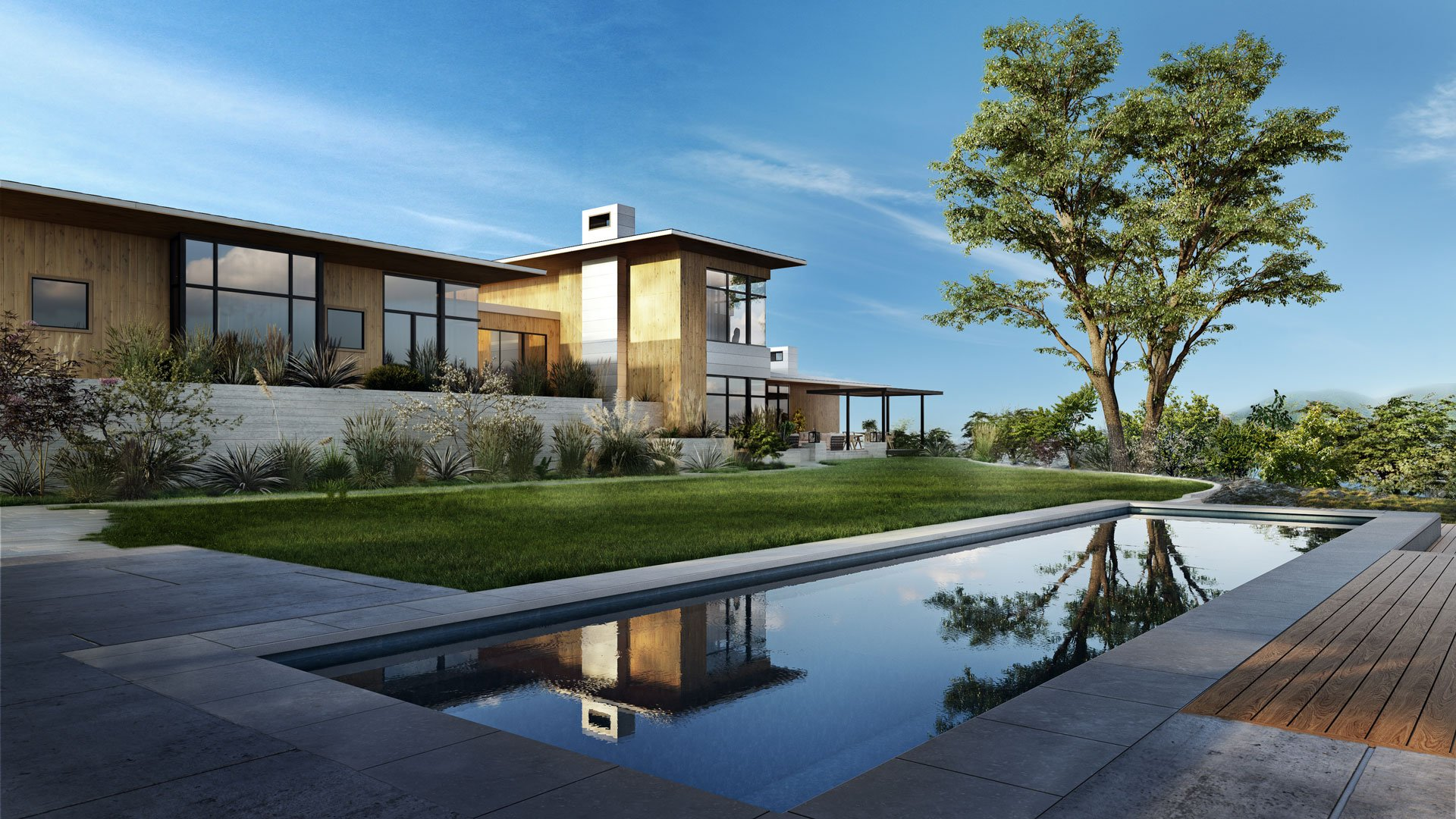3D Rendering of a Luxury Cottage Exterior Design