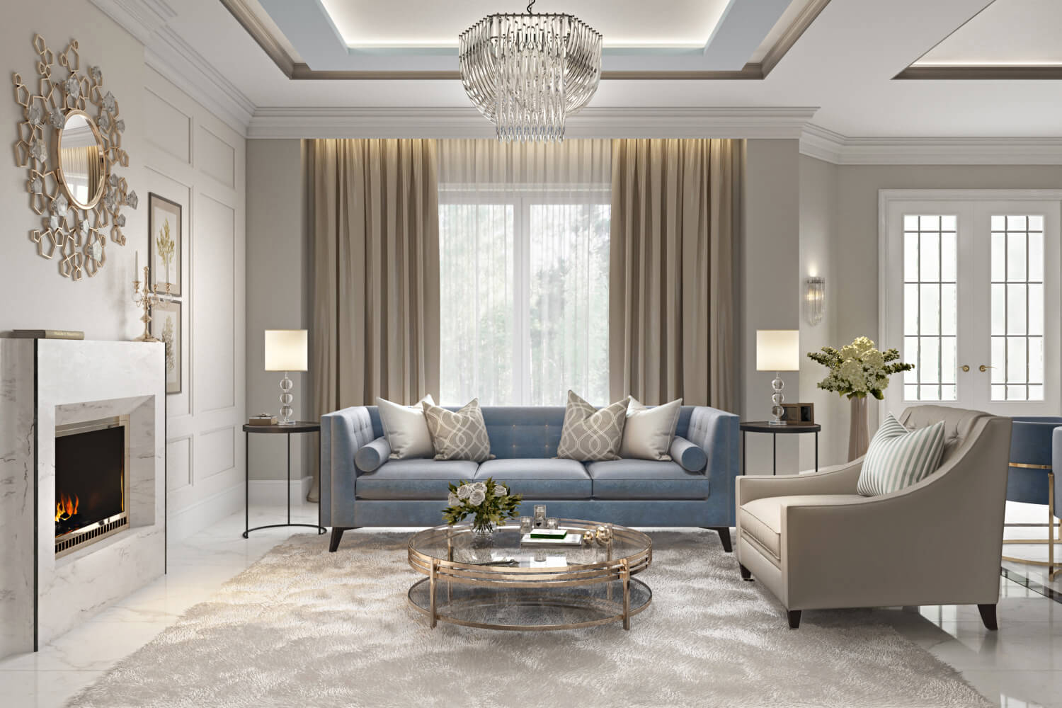 3D Visualization of a Posh Living Room with Classic Design