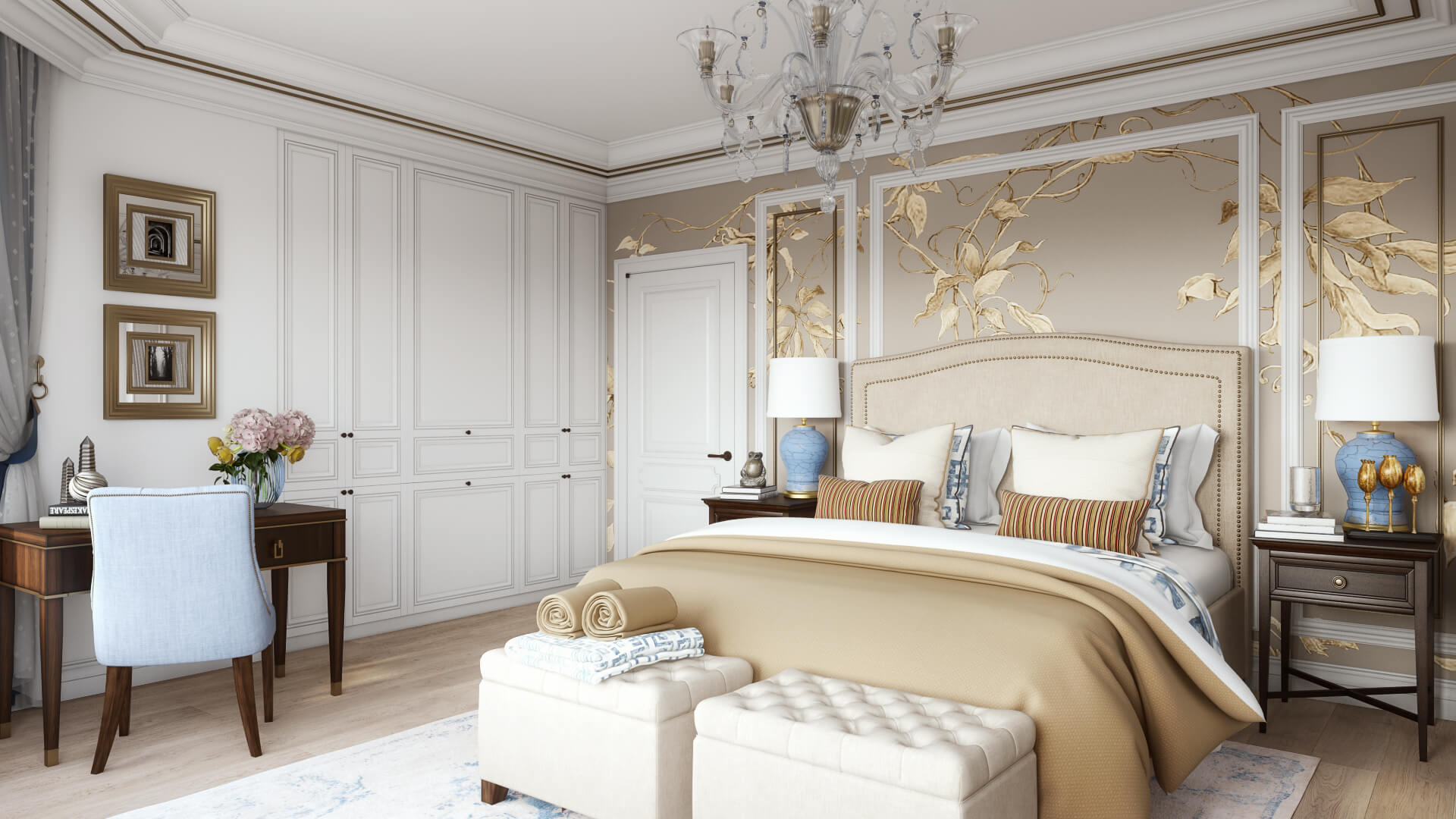 3D Visualization of a Bedroom Created in Traditional Style