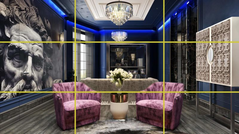 Stylish Hotel Interior Three-Dimensional Rendering Divided Into Parts
