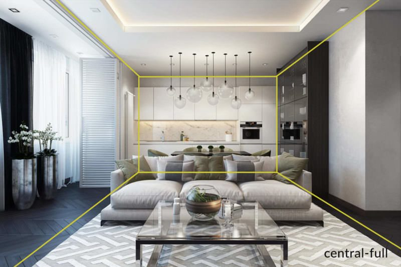 A Gorgeous Three-Dimensional Rendering For A Living Room In White