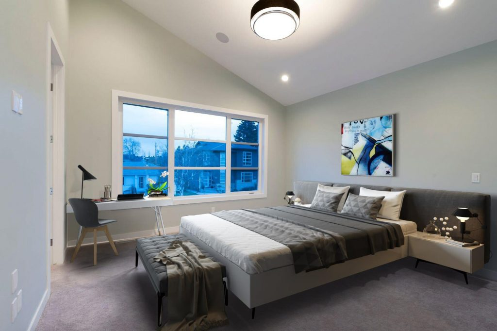 The Room Transformed With Virtual Staging Into A Charming Bedroom