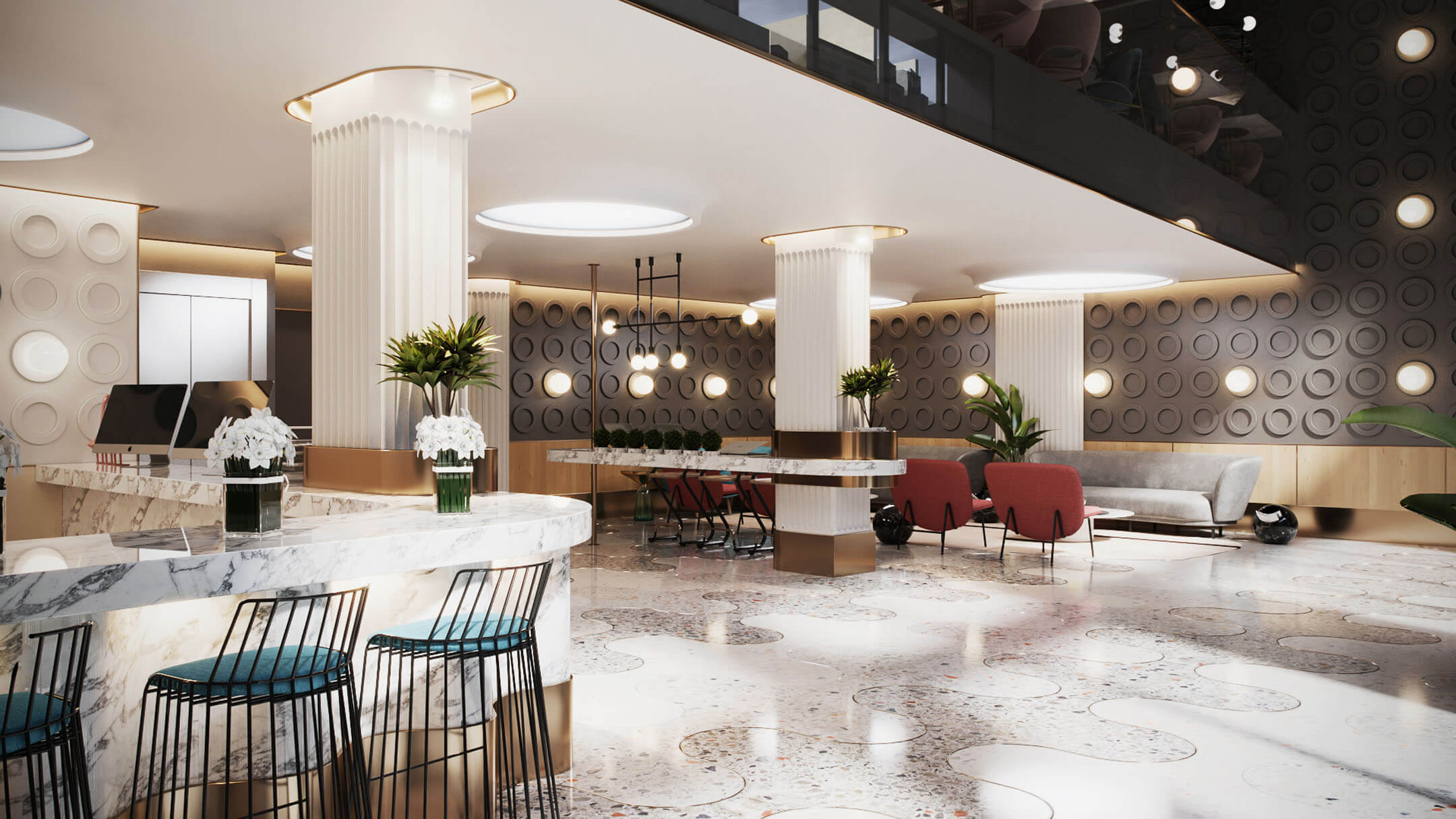 3D Visualization of a Spacious Modern Hotel Lobby