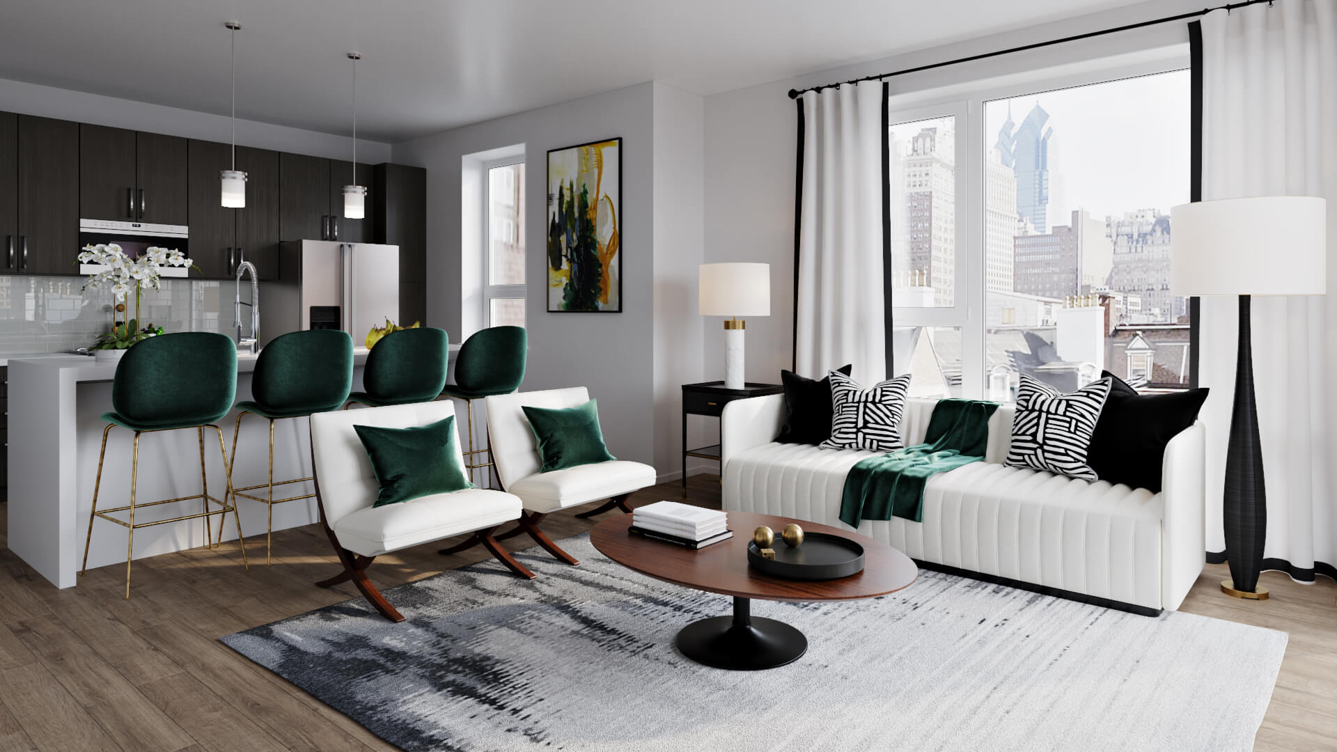 3D Visualization of a Stylish Living Space