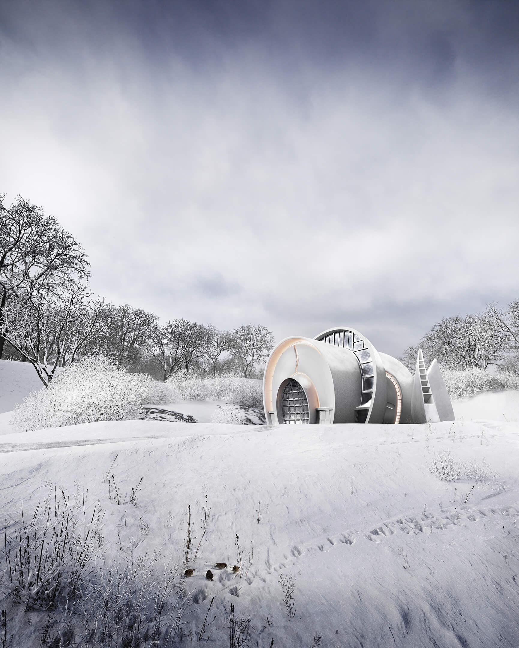 Architectural Design Visualization in a Winter Scene