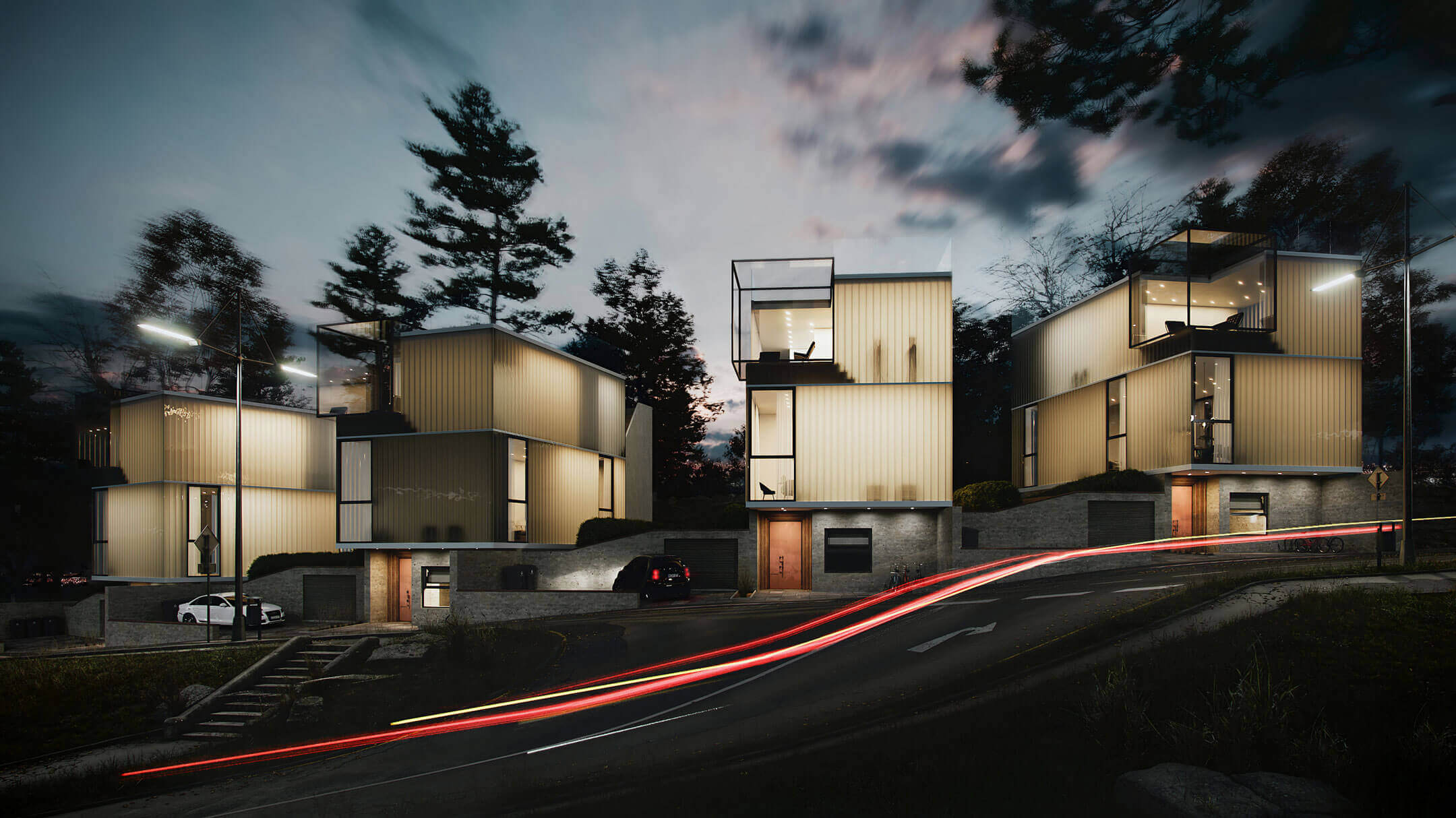 Architectural 3D Rendering Of A Modern Minimalistic Neighbourhood