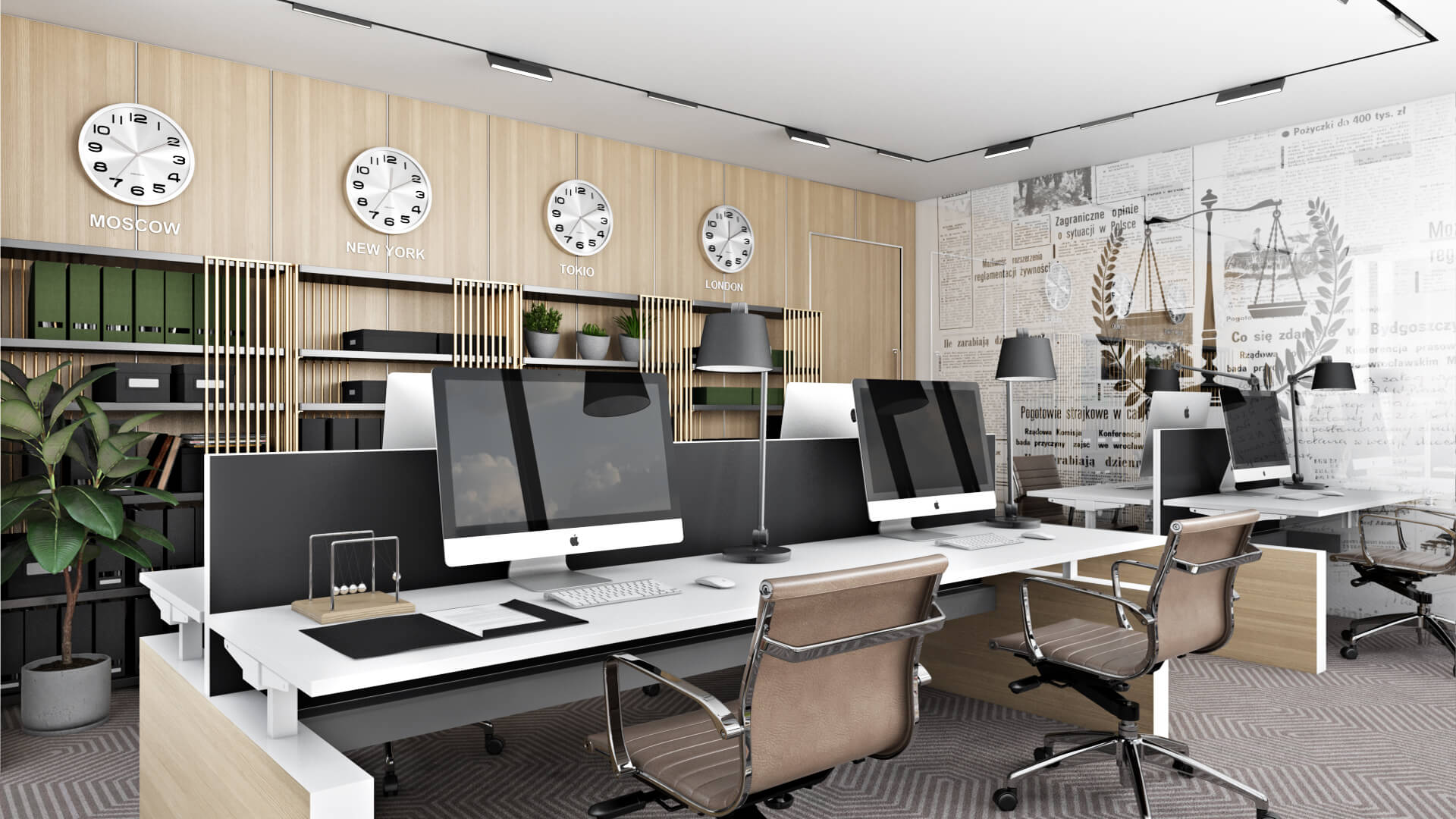 Strict Open Plan Office on a Photorealistic 3D Visualization