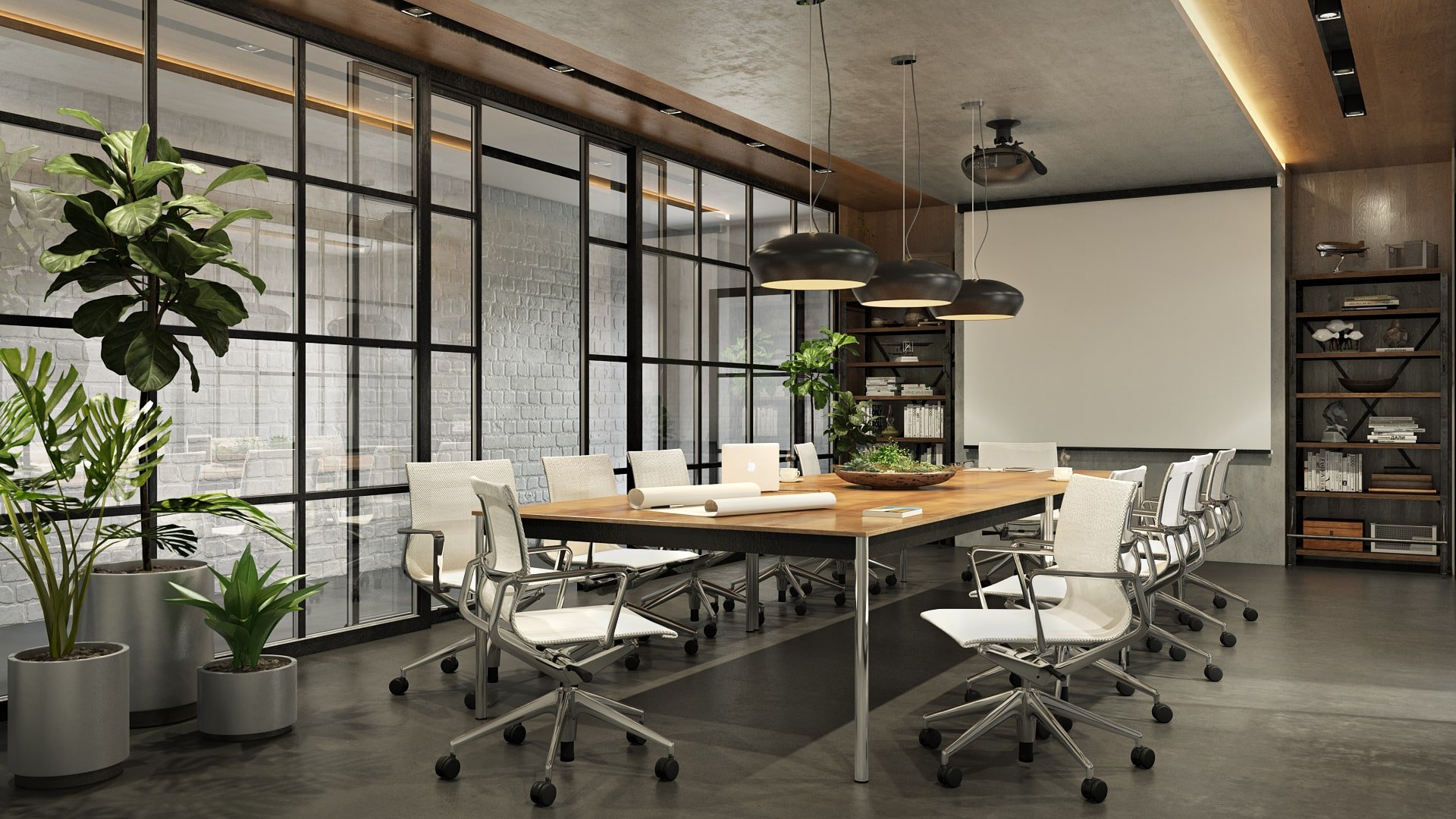 Office CG Render for Meeting Room with Refreshing Green Plants