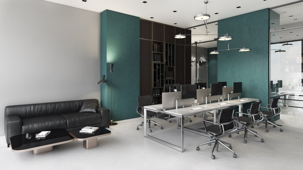 Open Plan Workplace Depicted on 3D Office Space Visualization