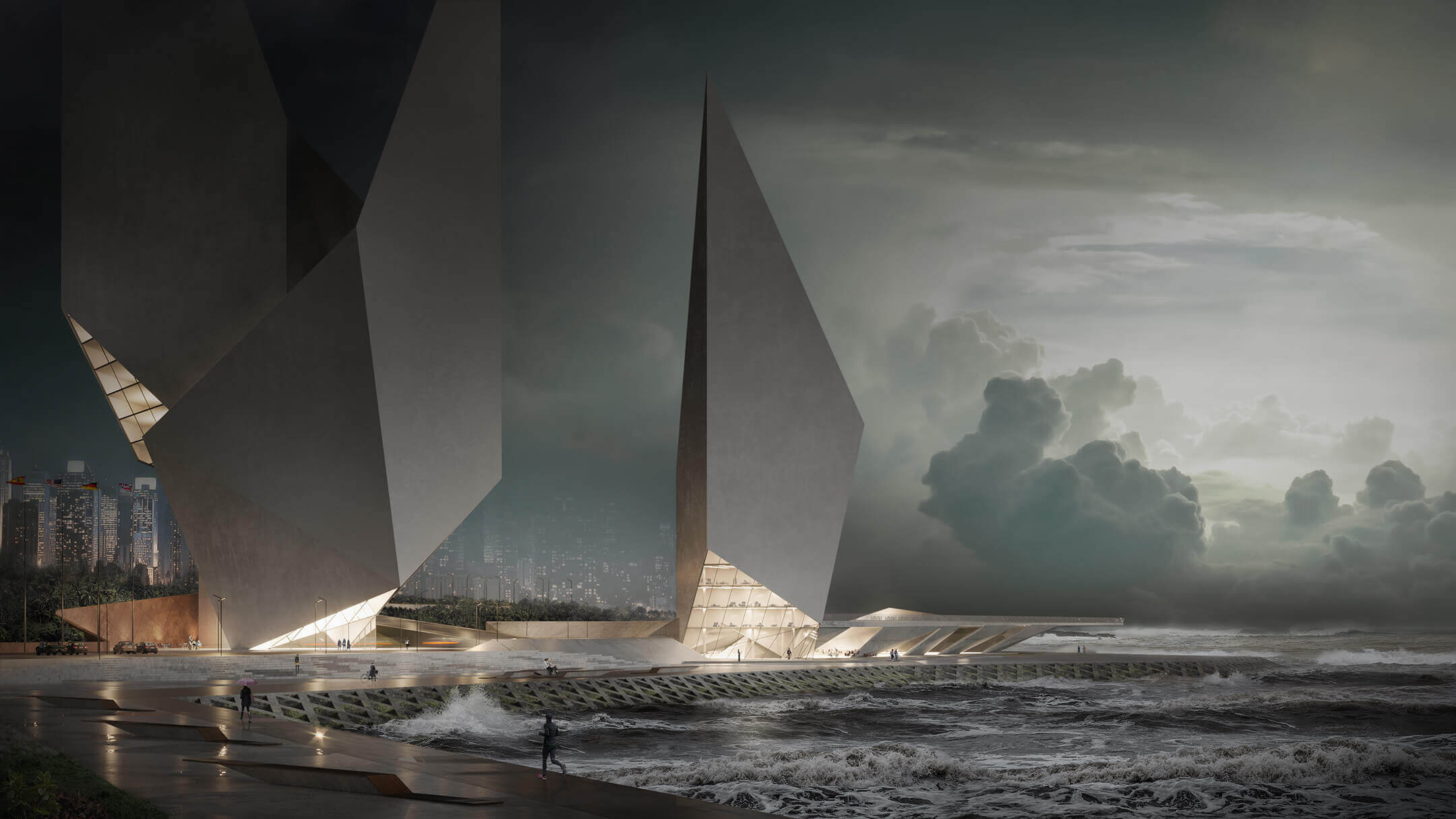 Photoreal Rendering Of An Angular Design Skyscraper During Storm