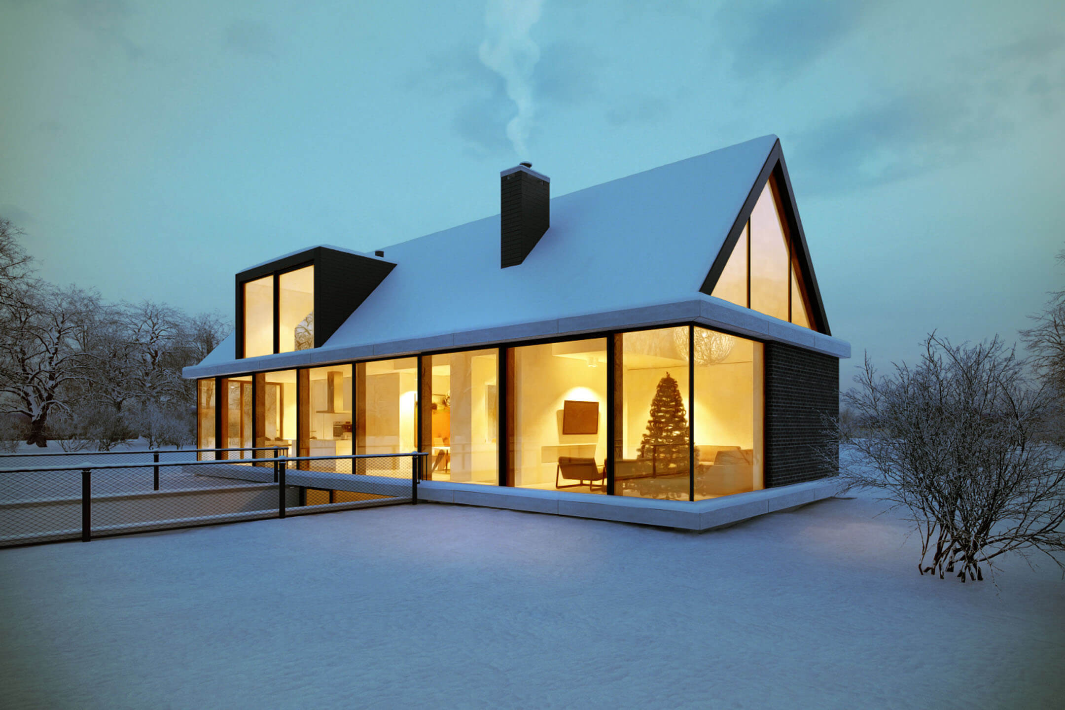 3D Rendering Showing a Small Cottage in Wintertime