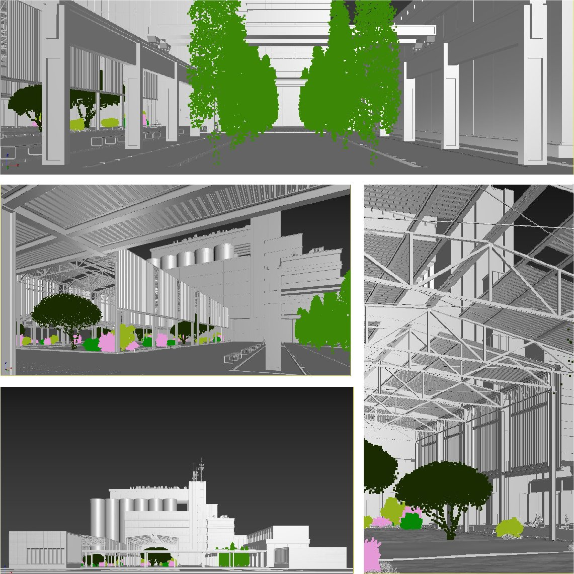 Four Grayscale 3D Renders Showing a Renovated Factory
