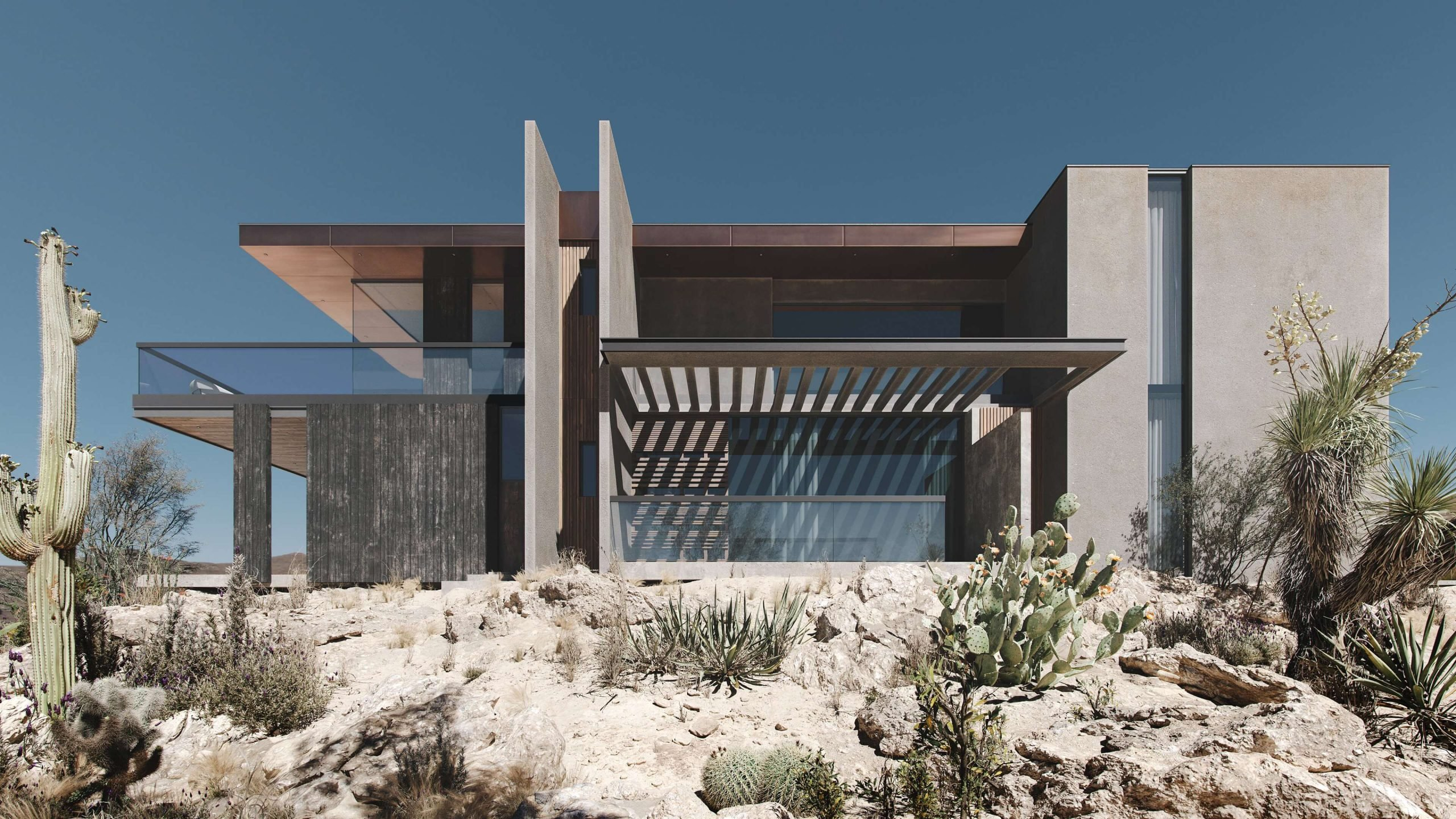 3D Rendering Of An Modern-Style Villa In A Desert
