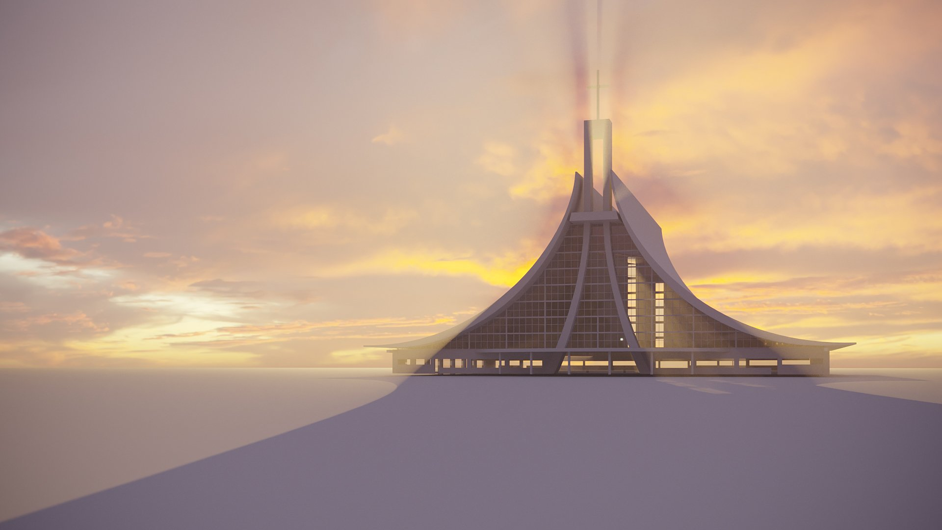 Trying the Church Design Model in a 3D Rendering Scene