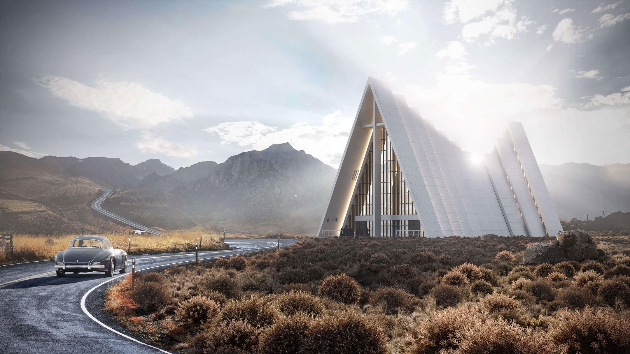 3D Visualization Of A Roadside Church On A Plain